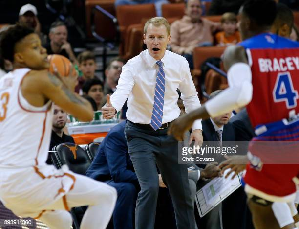 Head coach Eric Konkol of the Louisiana Tech Bulldogs reacts as his team plays the Texas Longhorns at the Frank Erwin Center on December 16 2017 in...
