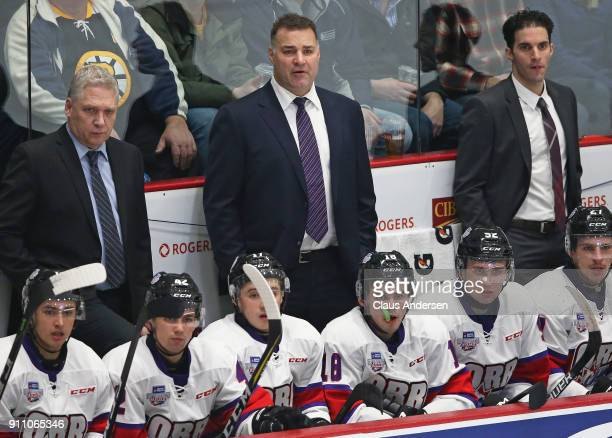 Head coach Eric Lindros of Team Orr reacts to a play against Team Cherry in the 2018 SherwinWilliams CHL/NHL Top Prospects game at the Sleeman Centre...