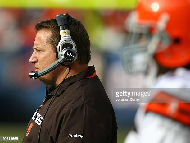 Head coach Eric Mangini of the Cleveland Browns watches as his team takes on the Chicago Bears at Soldier Field on November 1 2009 in Chicago...
