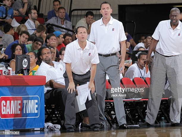 Head Coach Eric Musselman of the DLeague Select watches against the Minnesota Timberwolves during NBA Summer League on July 21 2012 at Cox Pavilion...
