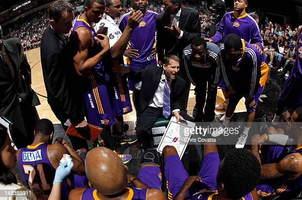 Head coach Eric Musselman of the Los Angeles DFenders gives instructions to his team while playing the Austin Toros in game one of the 2012 NBA...