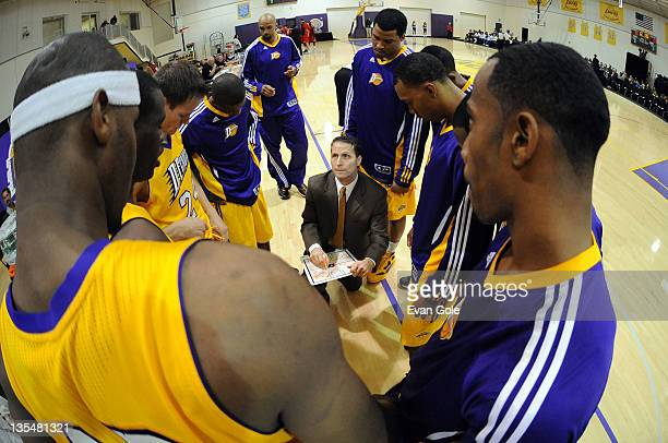 Head Coach Eric Musselman of the Los Angeles DFenders instructs his team prior to the game against the Idaho Stampede at Toyota Sports Center on...