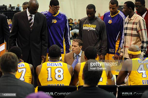 Head Coach Eric Musselman of the Los Angeles DFenders instructs his team during a timeout against the Austin Toros at Toyota Sports Center during...