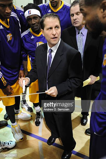 Head Coach Eric Musselman of the Los Angeles DFenders meets with his team before the game against the Reno Bighorns at Toyota Sports Center on...
