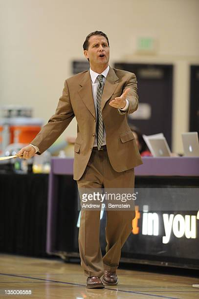 Head Coach Eric Musselman of the Los Angeles DFenders reacts to a call during a game against the Rio Grande Valley Vipers at Toyota Sports Center on...