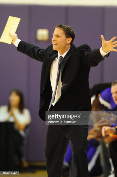 Head Coach Eric Musselman of the Los Angeles DFenders reacts to a call made by an official during a game against the Reno Bighorns at Toyota Sports...