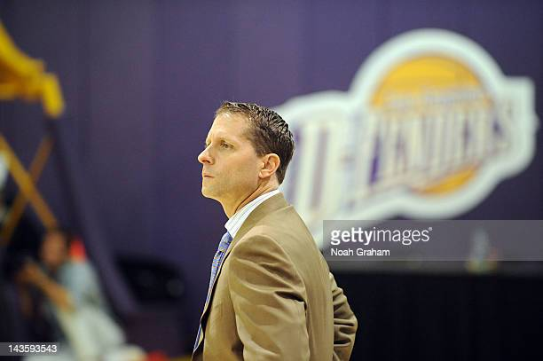Head Coach Eric Musselman of the Los Angeles DFenders stands on the sidelines against the Austin Toros at Toyota Sports Center during Game Three of...