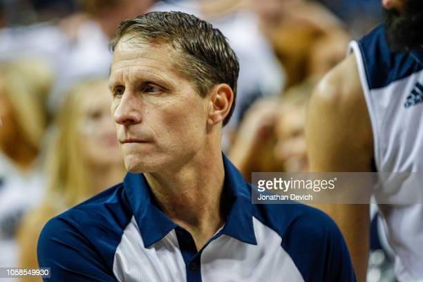 Head coach Eric Musselman of the Nevada Wolf Pack after defeating the Brigham Young Cougars at Lawlor Events Center on November 6 2018 in Reno Nevada
