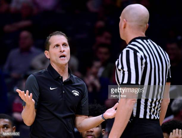 Head coach Eric Musselman of the Nevada Wolf Pack argues a call with a referee in a game against the TCU Horned Frogs during the Basketball Hall of...