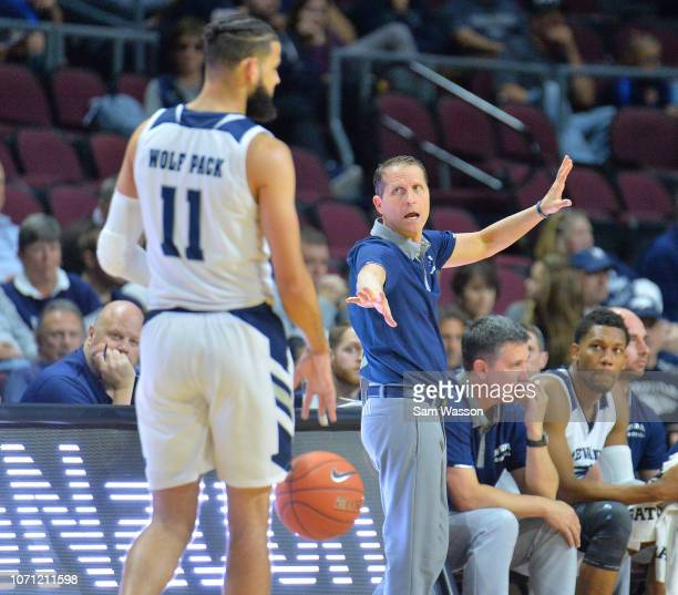 Head coach Eric Musselman of the Nevada Wolf Pack calls a play during his team's game against the Tulsa Golden Hurricane during the 2018 Continental...