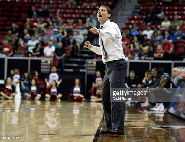 Head coach Eric Musselman of the Nevada Wolf Pack calls out during the second half of a semifinal game against the Fresno State Bulldogs in the...