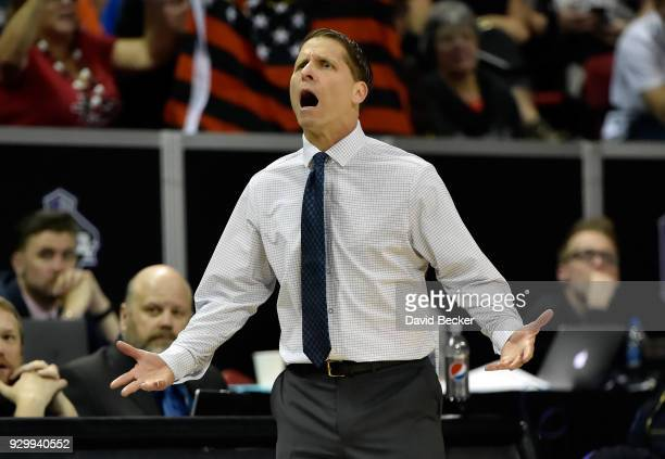 Head coach Eric Musselman of the Nevada Wolf Pack calls to his team during a semifinal game of the Mountain West Conference basketball tournament...