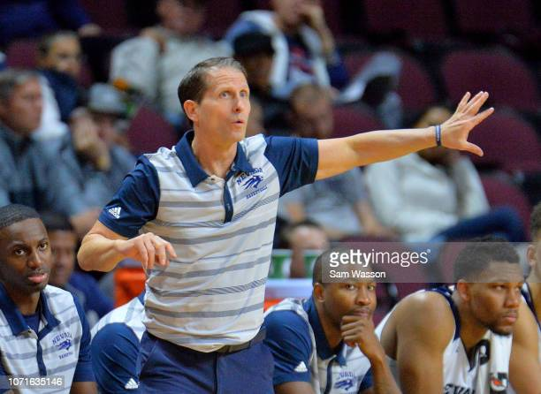 Head coach Eric Musselman of the Nevada Wolf Pack gestures to his team during the championship game of the 2018 Continental Tire Las Vegas Holiday...
