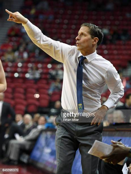 Head coach Eric Musselman of the Nevada Wolf Pack gestures to his players during their game against the UNLV Rebels at the Thomas Mack Center on...