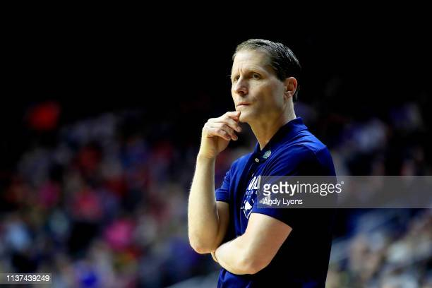 Head coach Eric Musselman of the Nevada Wolf Pack looks on against the Florida Gators in the first half during the first round of the 2019 NCAA Men's...
