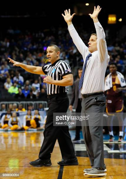 Head coach Eric Musselman of the Nevada Wolf Pack looks on against the Loyola Ramblers in the first half during the 2018 NCAA Men's Basketball...