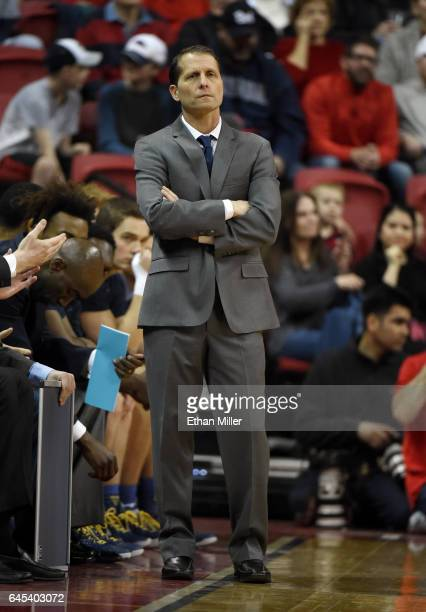 Head coach Eric Musselman of the Nevada Wolf Pack looks on during a game against the UNLV Rebels at the Thomas Mack Center on February 25 2017 in Las...