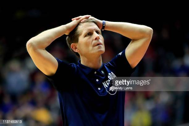 Head coach Eric Musselman of the Nevada Wolf Pack reacts against the Florida Gators in the second half during the first round of the 2019 NCAA Men's...