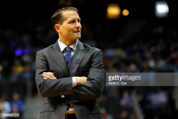 Head coach Eric Musselman of the Nevada Wolf Pack reacts against the Loyola Ramblers in the first half during the 2018 NCAA Men's Basketball...