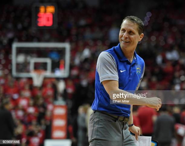 Head coach Eric Musselman of the Nevada Wolf Pack reacts during his team's game against the UNLV Rebels at the Thomas Mack Center on February 28 2018...