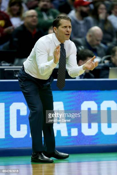 Head coach Eric Musselman of the Nevada Wolf Pack reacts in the first half against the Iowa State Cyclones during the first round of the 2017 NCAA...