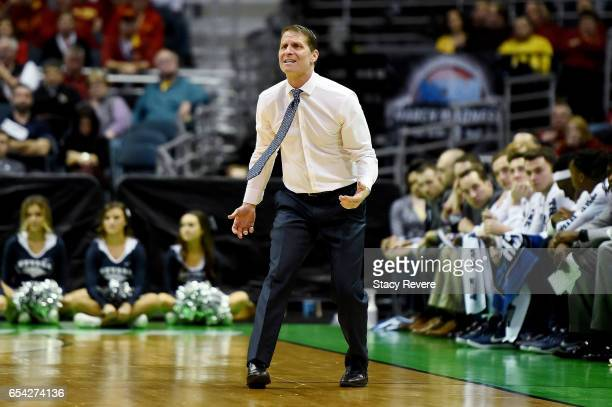 Head coach Eric Musselman of the Nevada Wolf Pack reacts in the second half against the Iowa State Cyclones during the first round of the 2017 NCAA...