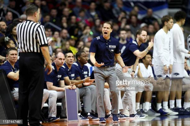 Head coach Eric Musselman of the Nevada Wolf Pack reacts the referee against the Florida Gators in the second half during the first round of the 2019...