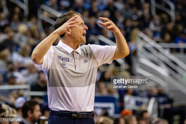 Head coach Eric Musselman of the Nevada Wolf Pack reacts to a call by the refs during the game between the Nevada Wolf Pack and the Boise State...