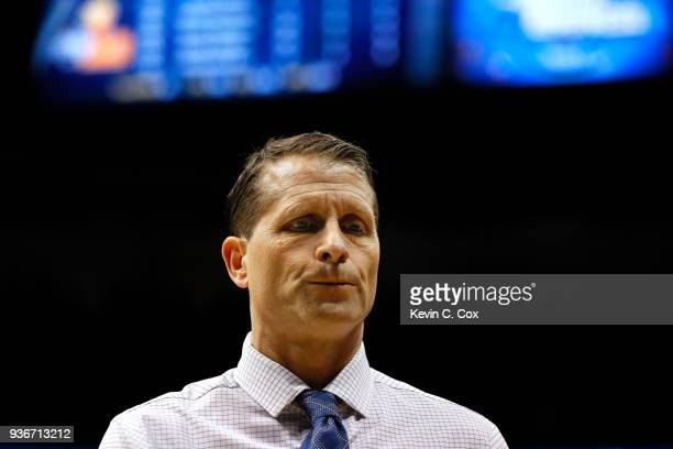 Head coach Eric Musselman of the Nevada Wolf Pack reacts to his teams loss to the Loyola Ramblers during the 2018 NCAA Men's Basketball Tournament...