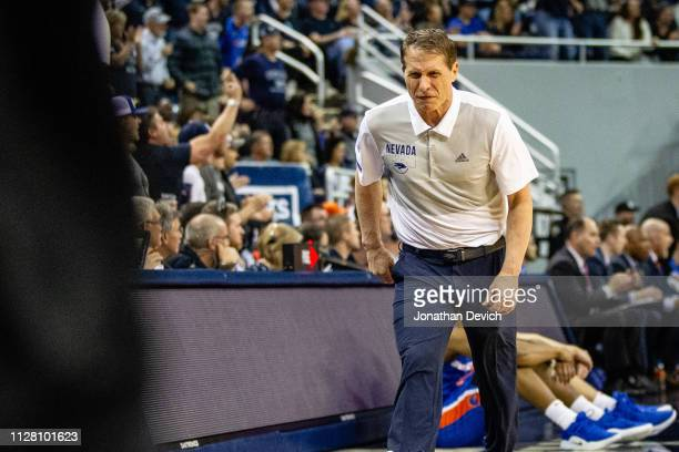 Head coach Eric Musselman of the Nevada Wolf Pack stomps across the sideline after a disagreement with a ref over a call during the game between the...