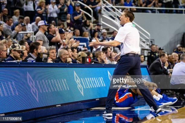 Head coach Eric Musselman of the Nevada Wolf Pack tries to get the crowd riled up during the game between the Nevada Wolf Pack and the Boise State...