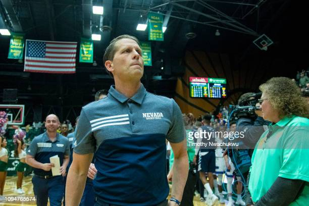 Head coach Eric Musselman of the Nevada Wolf Pack walks off the court after defeating the Colorado State Rams at Moby Arena on February 6 2019 in...
