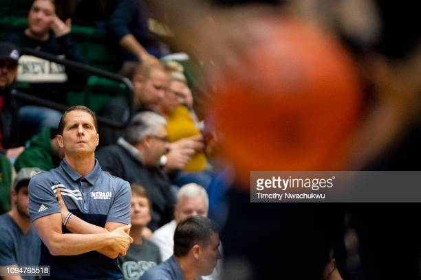 Head coach Eric Musselman of the Nevada Wolf Pack watches a free throw attempt during the first half against the Colorado State Rams at Moby Arena on...