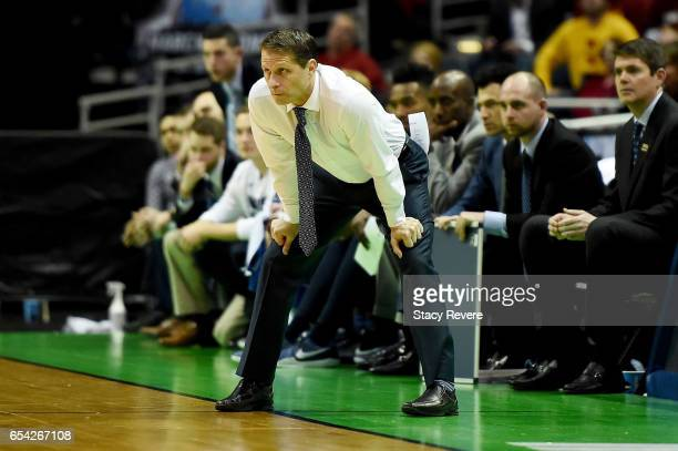 Head coach Eric Musselman of the Nevada Wolf Pack watches the game in the second half against the Iowa State Cyclones during the first round of the...