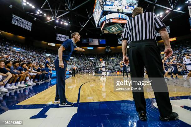 Head coach Eric Musselman of the Nevada Wolf Pack yells to an official after a call during the first half of the game between the Nevada Wolf Pack...