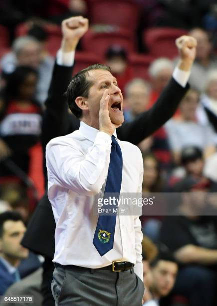Head coach Eric Musselman of the Nevada Wolf Pack yells to his players during their game against the UNLV Rebels at the Thomas Mack Center on...
