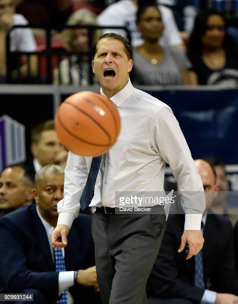 Head coach Eric Musselman of the Nevada Wolf Pack yells to his team during a semifinal game against the San Diego State Aztecs of the Mountain West...