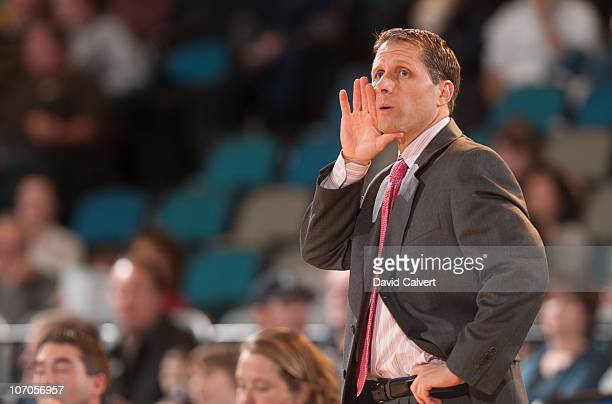 Head coach Eric Musselman of the Reno Bighorns calls out instructions to his players during their game against the Utah Flash November 21 2010 at the...