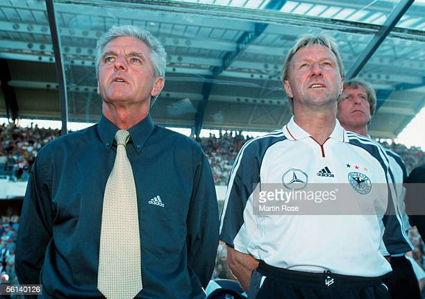 Head coach Erich Ribbeck and his assistant coach Horst Hrubesch looks on during the international match between Germany and Czech Republic at the...