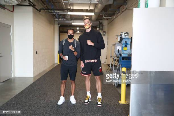 Head Coach Erik Spoelstra and Meyers Leonard of the Miami Heat leaves after practice and media availability as part of the 2020 NBA Finals on October...