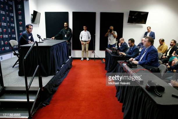 Head coach Erik Spoelstra of the Miami Heat answers a question from the media regarding the coronavirus prior to the game against the Charlotte...