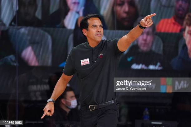 Head Coach Erik Spoelstra of the Miami Heat calls out a play during a game against the Boston Celtics during Game Two of the Eastern Conference...
