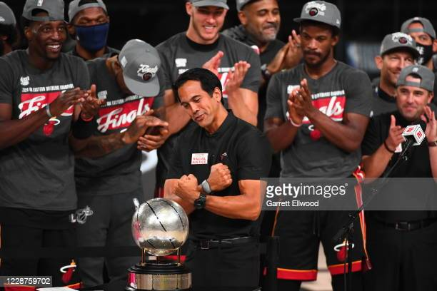 Head Coach Erik Spoelstra of the Miami Heat celebrates after winning Game Six of the Eastern Conference Finals against the Boston Celtics on...