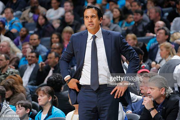 Head Coach Erik Spoelstra of the Miami Heat coaches against the Charlotte Hornets on February 5 2016 at Time Warner Cable Arena in Charlotte North...