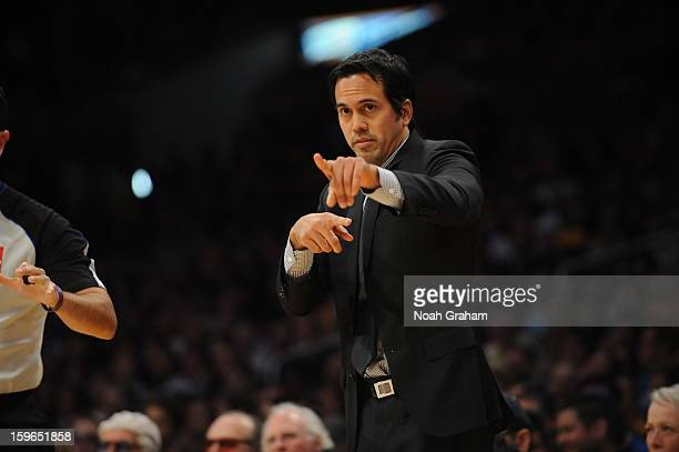 Head coach Erik Spoelstra of the Miami Heat directs his team against the Los Angeles Lakers at Staples Center on January 15 2013 in Los Angeles...