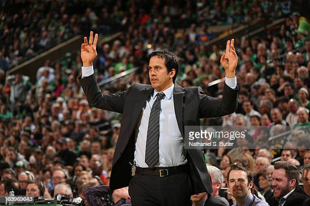 Head Coach Erik Spoelstra of the Miami Heat directs his team against the Boston Celtics on March 18, 2013 at TD Garden in Boston, Massachusetts. NOTE...