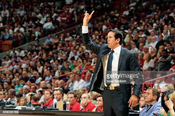 Head Coach Erik Spoelstra of the Miami Heat directs his team against the Portland Trail Blazers on February 12 2013 at American Airlines Arena in...