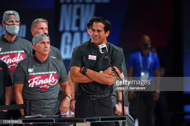 Head Coach Erik Spoelstra of the Miami Heat is interviewed after Game Six of the Eastern Conference Finals of the NBA Playoffs on September 27, 2020...