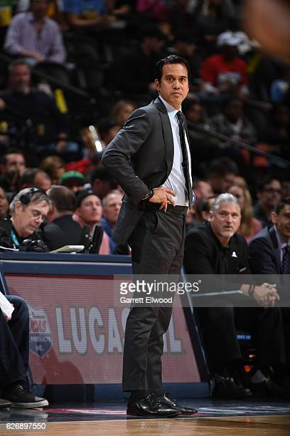 Head Coach Erik Spoelstra of the Miami Heat is see against the Denver Nuggets on November 30 2016 at the Pepsi Center in Denver Colorado NOTE TO USER...