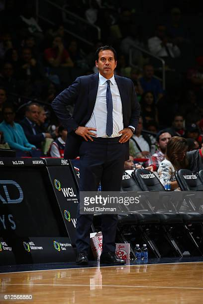 Head Coach Erik Spoelstra of the Miami Heat looks on against the Washington Wizards during a preseason game on October 4 2016 at Verizon Center in...